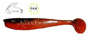 Relax King Shad KS3-L536 Black-Red , Gold glitter / Super red