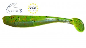 "Relax King Shad KS3-L339 3"" Non Bleedable Chartreuse-Black, Orange Glitter/Blue Pearl"