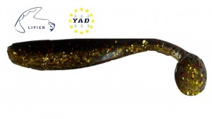 "Relax King Shad KS3-L611 3"" DK Lime-Black,Red Glitter/Clear-Gold Glitter"